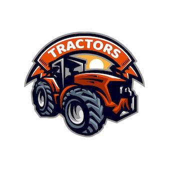 Modello di logo della mascotte di trattori