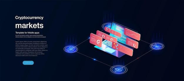 Interfaccia utente commerciale, ottimo design per qualsiasi scopo. concetto di commercio. modello di schermata del sito web. mercato forex, notizie e analisi. opzione binaria. applicazione per investimento e trading online, tablet, smartphone, pc.