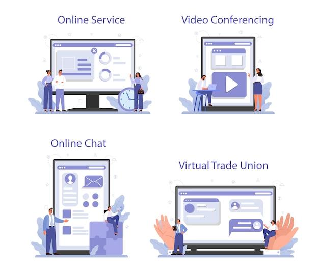 Servizio online sindacale o set di piattaforme