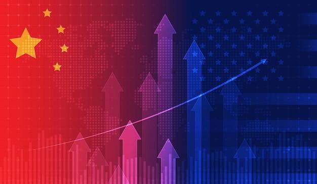 Economia della guerra commerciale usa america e cina bandiera grafico candlestick borsa del mercato azionario e grafico grafico