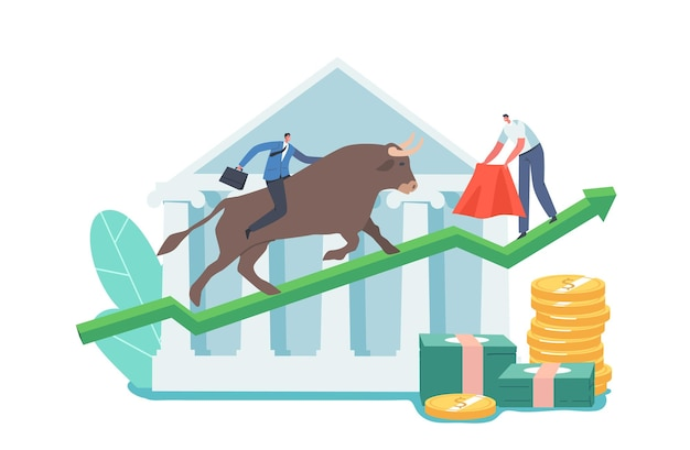 Investimento di carattere trader, trading rialzista sul mercato azionario stock