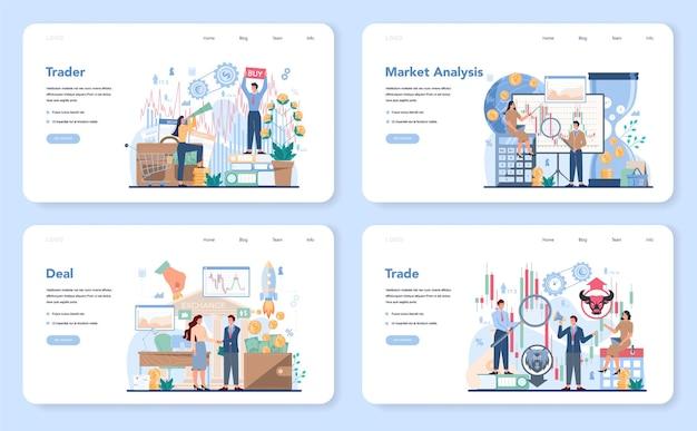 Trader, banner web per investimenti finanziari o set di pagine di destinazione