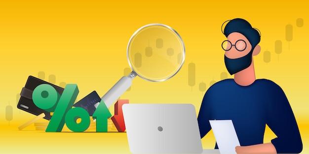 Banner di trading. un uomo lavora a un laptop. grafico a candela, analisi, borsa, trading.