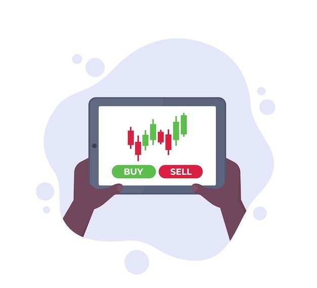 Trading, forex e mercato azionario, tablet in mano, vettore