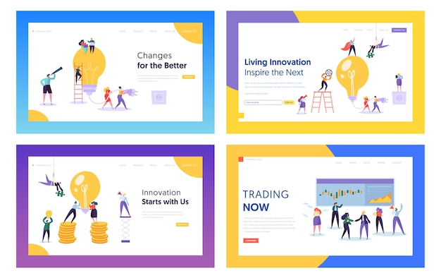 Trading, idee di innovazione per set di modelli di pagina di destinazione del sito web aziendale.