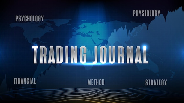 Giornale di trading astratto sfondo tecnologico futuristico del mercato azionario del giornale di trading, strategia di metodo di psicologia fisiologia finanziaria