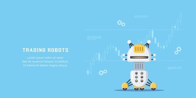 Banner di concetto di robot commerciali. trading in borsa, forex e criptovaluta