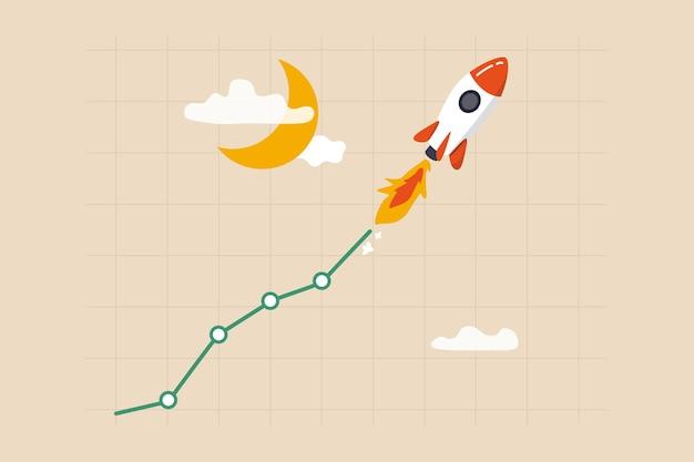 Trading di azioni o criptovalute che salgono in alto sulla luna, valore della criptovaluta che sale a razzo, arricchirsi o fare investimenti di profitto, azioni di razzi o grafici di criptovalute che volano in alto sulla luna.