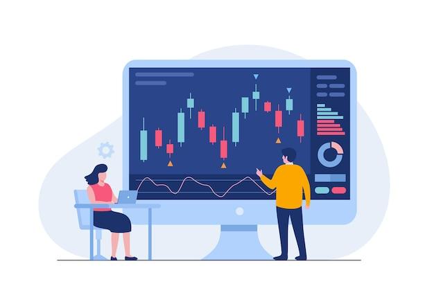 Trading stock e forex candeliere concetto piatto illustrazione vettoriale per banner vettore premium