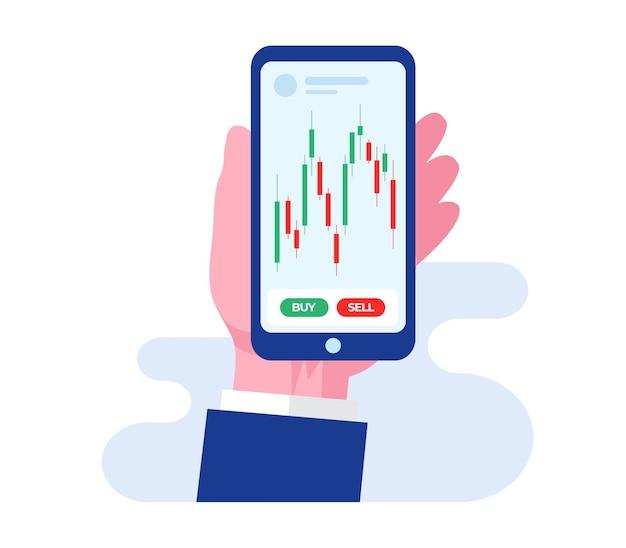 Trading stock e forex candlestick concetto piatto illustrazione vettoriale per banner