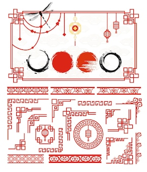 Set di cornici tradizionali asiatiche per carte e cornice cerchi di inchiostro grunge in stile giapponese