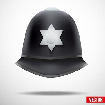 Un casco autentico tradizionale degli agenti di polizia britannici metropolitani. illustrazione.