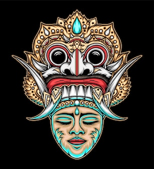 Maschera tradizionale balinese. vettore premium