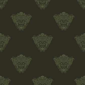 Maschera tradizionale balinese del terribile mitico difensore senza cuciture per cartoline o tessuti