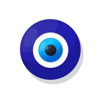 Ricordo turco tradizionale degli occhi diabolici blu amuleto di nazar. illustrazione vettoriale su sfondo isolato.