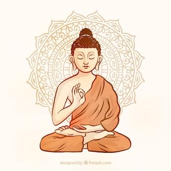 Budha tradizionale con stile disegnato a mano