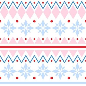 Modelli senza cuciture tradizionali di natale in stile scandinavo ornamento luminoso con fiocchi di neve