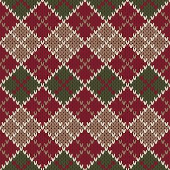 Design tradizionale maglione di natale. motivo a maglia argyle senza soluzione di continuità
