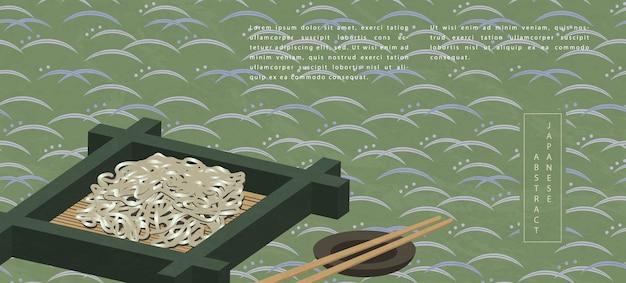 Cibo tradizionale soba noodle freddi e bacchette