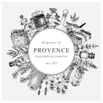 Corona di erbe tradizionali francesi in stile vintage modello di design provenzale