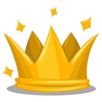 Corona tradizionale re d'oro. icona di vettore del fumetto dell'attributo reale isolato su bianco