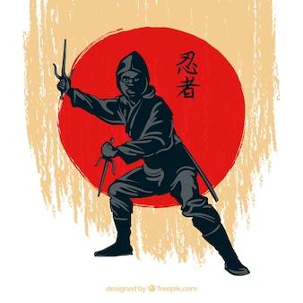 Sfondo di guerriero ninja disegnato a mano tradizionale Vettore Premium