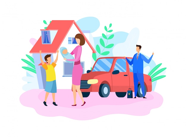 Illustrazione di vettore piatto famiglia felice tradizionale