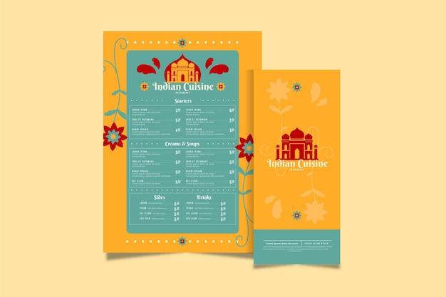 Modello di menu tradizionale indiano
