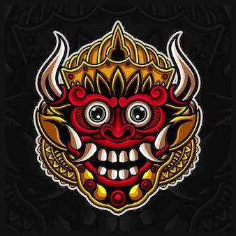 Tradizionale maschera indonesiana barong logo design illustrazioni, maschera balinese stile disegnato a mano