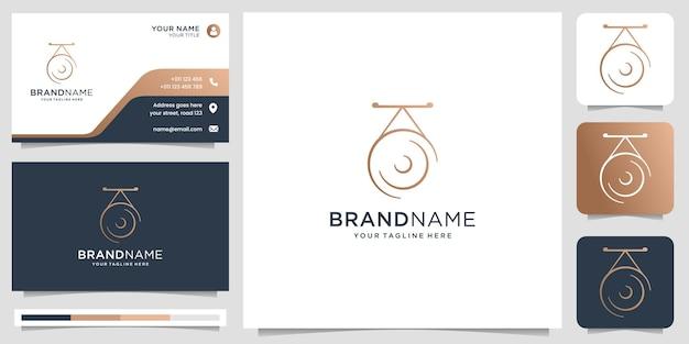 Strumenti tradizionali logo design strumenti musicali modelli classici di design del logo con modello di biglietto da visita vettore premium