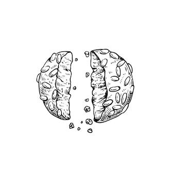 Biscotto italiano tradizionale pignoli. patatine italiane (biscotti). disegni in stile schizzo disegnato a mano. vista dall'alto. illustrazione vettoriale isolato su sfondo bianco.
