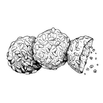 Biscotti tradizionali italiani pignoli. patatine italiane (biscotti). disegni in stile schizzo disegnato a mano. vista dall'alto. illustrazione vettoriale isolato su sfondo bianco.