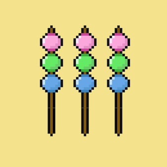 Cibo tradizionale giapponese in stile pixel art