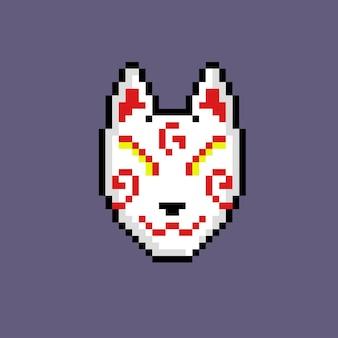 Maschera tradizionale giapponese con stile pixel art