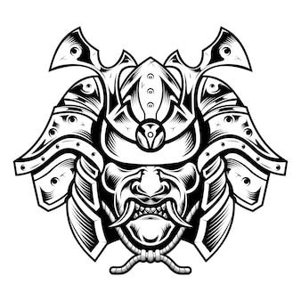Illustrazione giapponese tradizionale della maschera del guerriero della leggenda del samurai