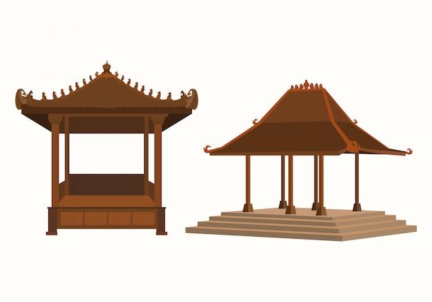 Insieme tradizionale dell'illustrazione di immagine di java gazebo. Vettore Premium
