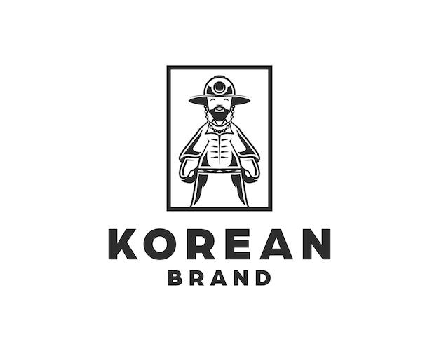 Design tradizionale del logo del cappello del vestito coreano isolato su priorità bassa bianca