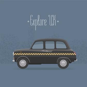 Illustrazione tradizionale di vettore del taxi nero di londra, regno unito, gran bretagna