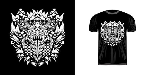 Maschera tradizionale barong con ornamento per incisione per il design della maglietta