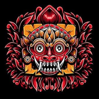 Perdita di maschera tradizionale con ornamento incisione