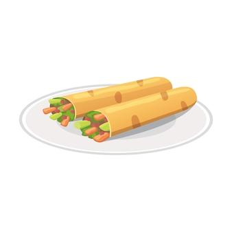 Cibo messicano tradizionale - illustrazione di burrito