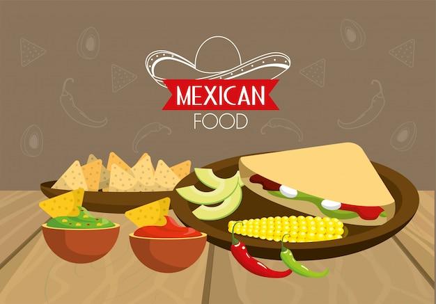 Cibo messicano tradizionale con salse piccanti