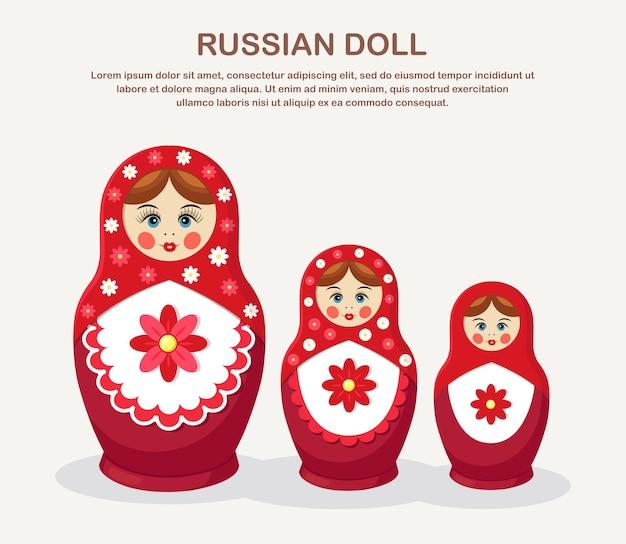 Bambole tradizionali di incastramento isolate su bianco