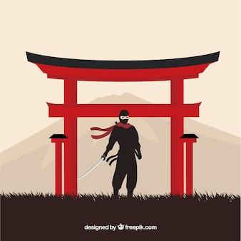Sfondo tradizionale guerriero ninja con design piatto