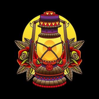 Tatuaggi tradizionali della lampada a olio