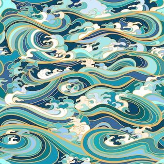 Modello senza cuciture orientale tradizionale con onde oceaniche, schiuma, schizzi.