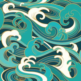 Modello senza cuciture orientale tradizionale con le onde dell'oceano
