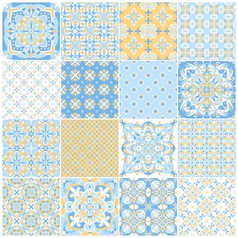 Azulejos di piastrelle portoghesi decorate tradizionali. modello vintage per il design tessile. mosaico geometrico, maiolica. seamless pattern geometrici. vector sfondo decorativo. motivo floreale vintage.