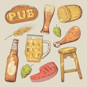 Pub tradizionale birra doodle con luppolo e bistecca