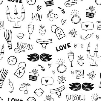 Set di simboli romantici tradizionali.